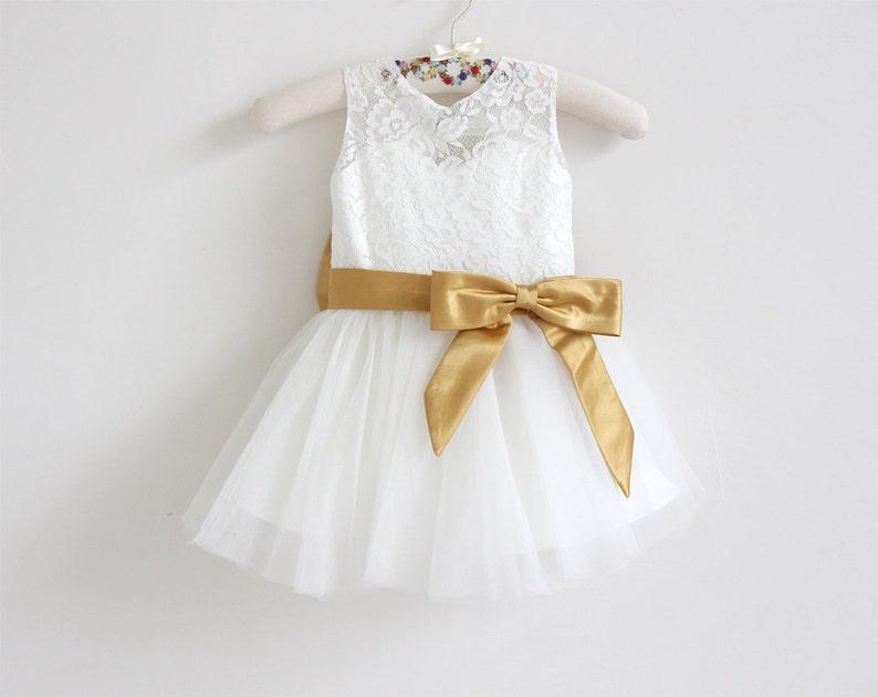 Light Ivory Flower Girl Dress Lace Tulle Flower Girl Dress image 0