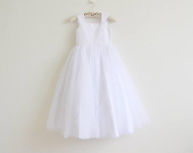 White Flower Girl Dress Tulle White Straps Baby Girl Dress image 0