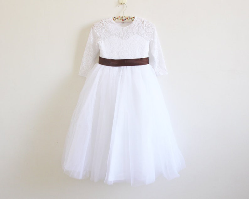d018a45b8325 White Lace Flower Girl Dress Long Sleeves Chocolate Ribbon