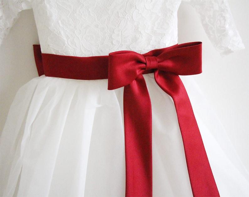 Long Sleeves Light Ivory Flower Girl Dress Wine Sash Bows Lace Tulle Flower Girl Dress With Burgundy SashBows