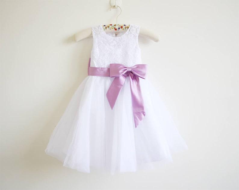 b8b678ceea White Flower Girl Dress Lace Lilac Baby Girls Dress Tulle