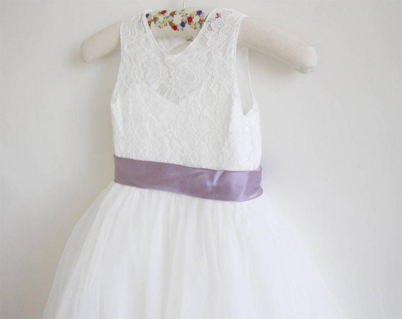 338f8bb0fb8 Light Ivory Flower Girl Dress Dusty Purple Baby Girl Dress