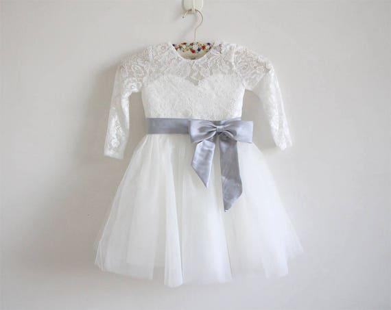 Light ivory flower girl dress silver long sleeves lace tulle etsy image 0 mightylinksfo