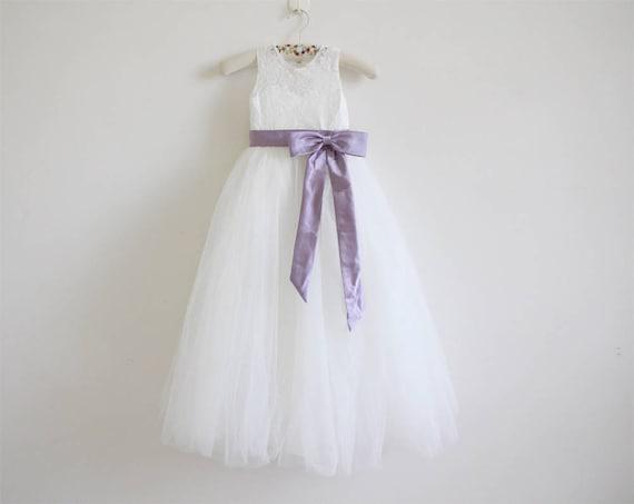 558198cbad250 Light Ivory Flower Girl Dress Dusty Purple Baby Girl Dress Lace Tulle  Flower Girl Dress With Dusty Purple Sash/Bows