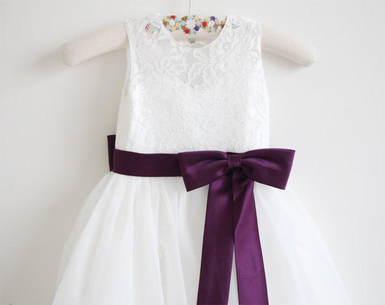 e3924074c Light Ivory Flower Girl Dress Eggplant Baby Girls Dress Lace   Etsy