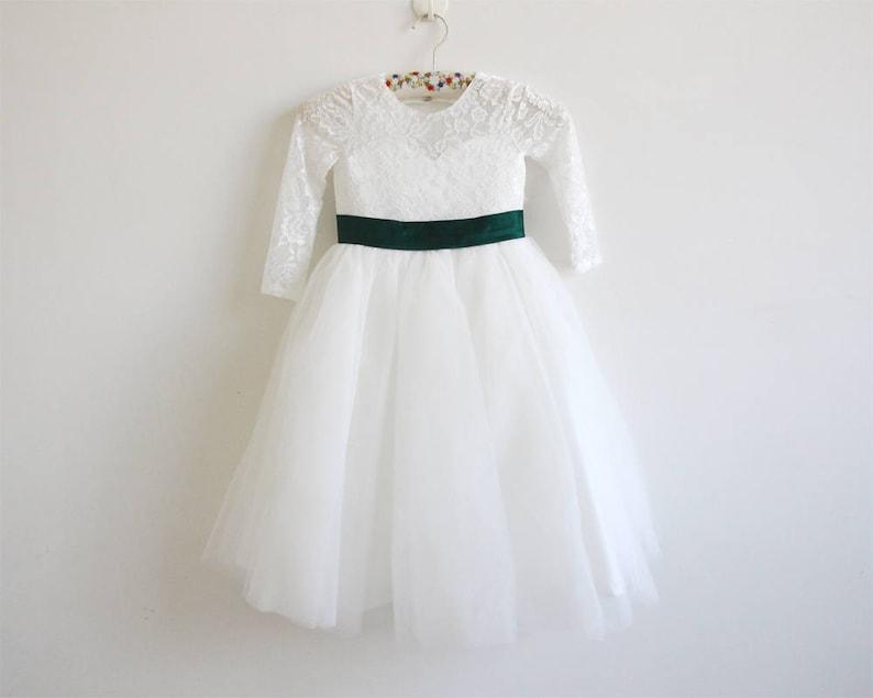 fd9265391 Light Ivory Flower Girl Dress Forest Green Long Sleeves Lace | Etsy