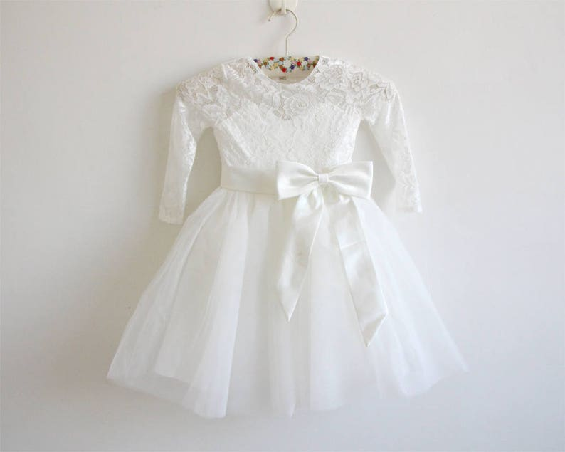 Long Sleeve Flower Girl Dress Light Ivory Flower Girl Dress image 0