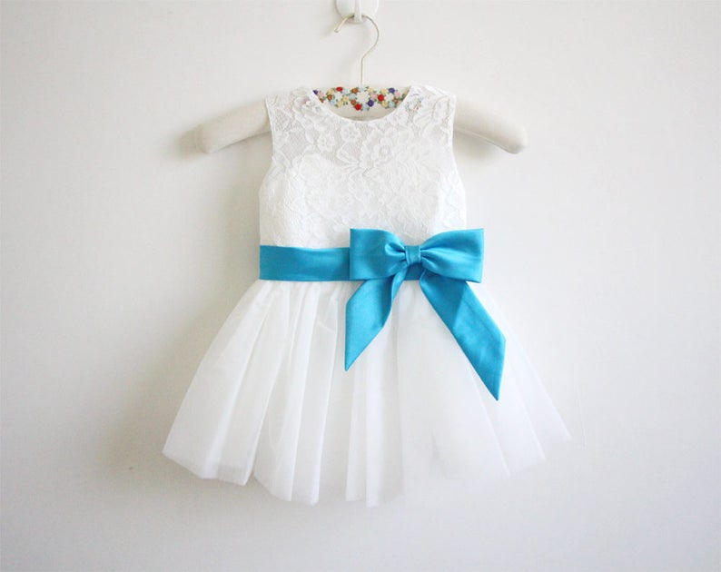 61df6530e20 Light Ivory Flower Girl Dress Blue Ribbon Baby Girl Dress Lace