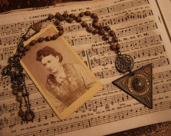 Necklace with Antique Masonic Pendant and Vintage Button- One of a Kind Assemblage Jewelry