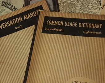 REDUCED - Pair of French Language Course Instructional Books from 1955