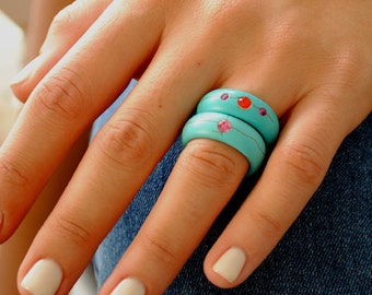 Turquoise band ring, Statement ring, turquoise jewelry stone ring gemstone ring turquoise ring row turquoise style jewelry