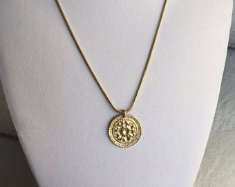 Gold coin necklace Gold hammered necklace 14k gold medallion necklace gold coin pendant Greek coin necklace gold sun pendant necklace flower