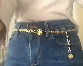 25d17c385f Gold Chain belt vintage chain belt link metal belt 90s chain belt versace  belt chanel chain belt Gold Chain Waist Belt 80s Gold belt
