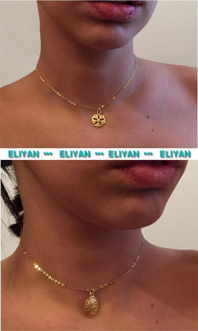 ba8c4d80f3 Round gold charm necklace Gold flower pendant necklace Gold | Etsy