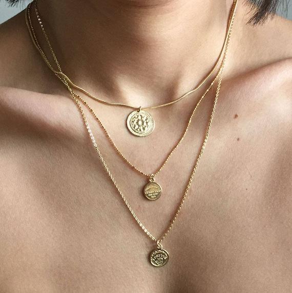 Gold Münze Trendy Schichtung Münze Halskette Good Luck Gold Etsy