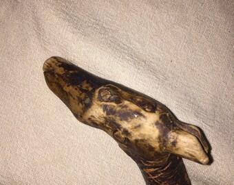 Carved Dog's Head walking stick