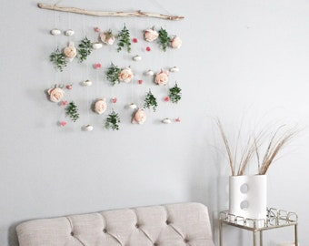 Boho Flower Wall Hanging, Eucalyptus Wall Hanging, Flower Wall Hanging, Boho  Wall Hanging, Greenery Hanging Wall Hanging Boho Home Decor