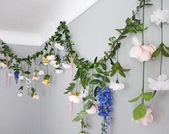 Flower backdrop etsy hanging flower backdrop wedding flower garland wedding ceremony backdrop silk flower garland wedding flower wall mightylinksfo