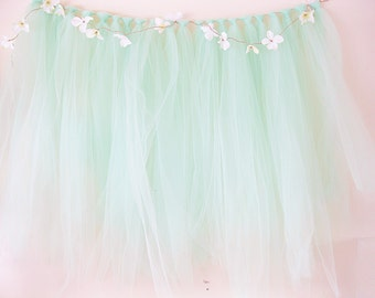 Mint Shabby Chic Backdrop Tulle Backdrop | Shabby Wedding Backdrop | Baby Shower Banner | Ribbon Garland | Photo Booth Backdrop