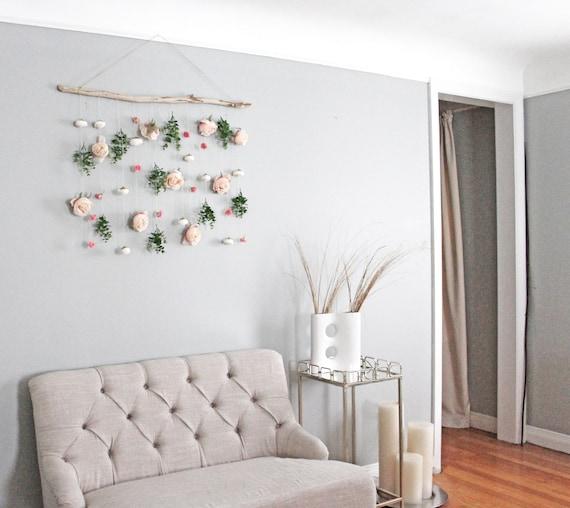 Boho Flower Wall Hanging Eucalyptus Wall Hanging Flower Wall Etsy