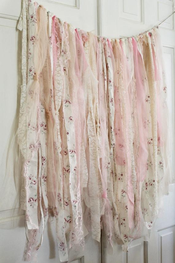 32cdc6343ac60 Shabby Chic Baby Shower Decorations, Shabby Chic Backdrop, Rustic Backdrop,  Boho Curtains, Photobooth Backdrop, Ribbon Backdrop