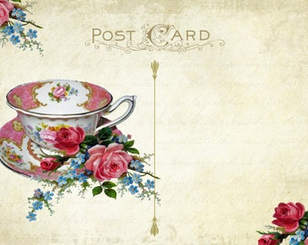 Digital Tea Party Invitation Postcard Printable Vintage Add Your Own Text NEED GRAPHICS PROGRAM