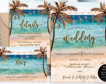 9297723b623ac9 Printable beach wedding invitation set