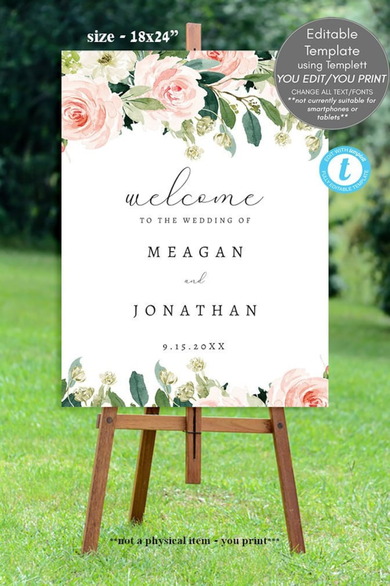 pink blush floral welcome sign template printable welcome image 0