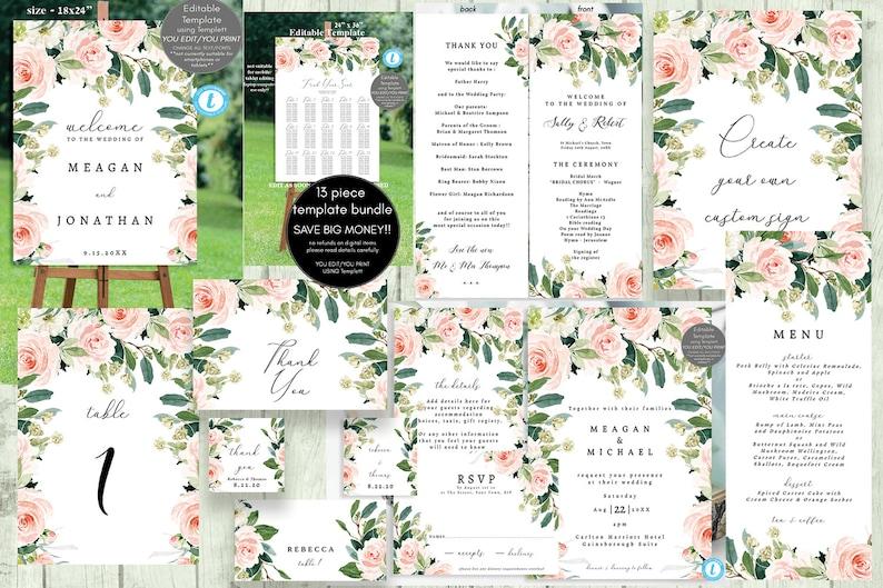 pink blush floral wedding template bundle printable wedding image 0
