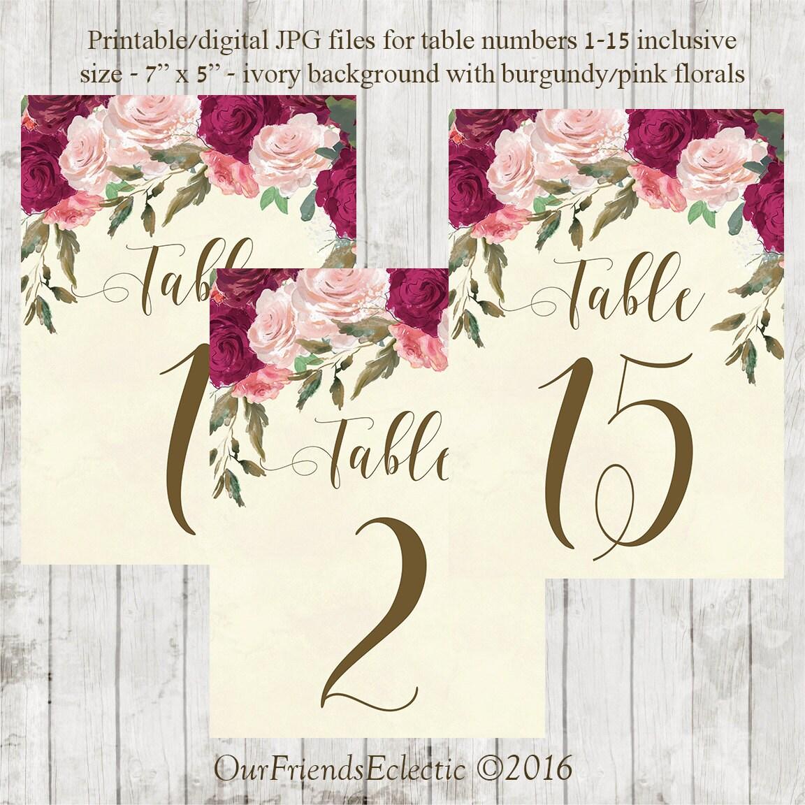 Druckbare Tischnummern druckbare Hochzeit Tisch Zahlen 1-15 | Etsy