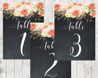 Printable chalkboard table numbers, printable wedding table numbers 1-15, peach roses table numbers, you print, 7x5, instant download