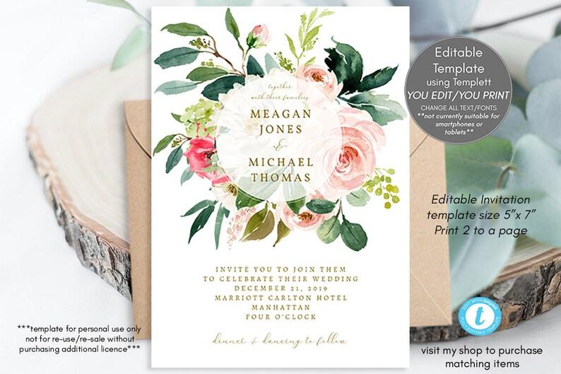 wedding invitation template floral editable pdf editable invitation template blush pink,templett boho floral wedding invitation download