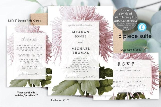 wedding invitation template set, printable wedding invitation suite editable, botanical invitation suite editable, pink floral, you edit