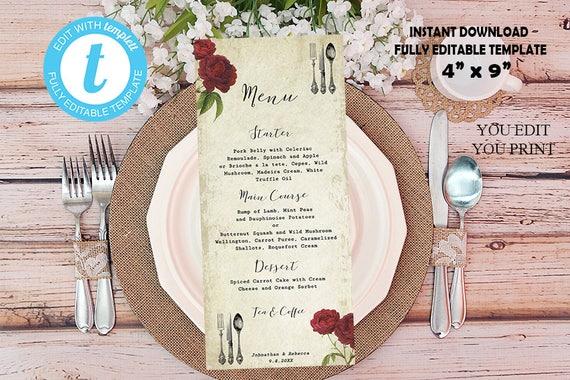 "printable menu, editable menu template, shabby burgundy rose, vintage menu card, instant download, digital menu template, 4""x9"", Templett"