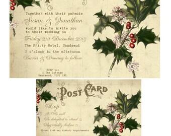 christmas wedding invitation,  winter wedding invitation, digital wedding invitation, printable christmas wedding invitation, YOU PRINT