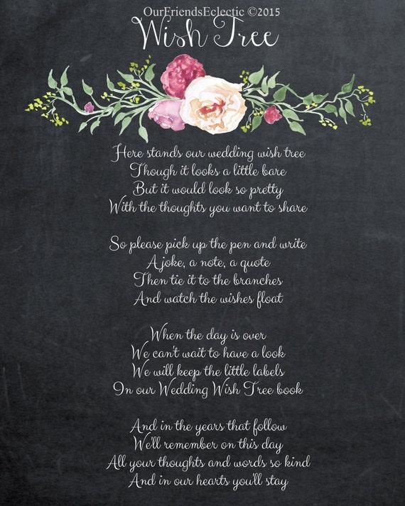 Wish Tree Sign Wish Tree Poem Chalkboard Wish Tree Sign Wishing Tree Printable Chalkboard Wedding Sign 11 X 14 You Print