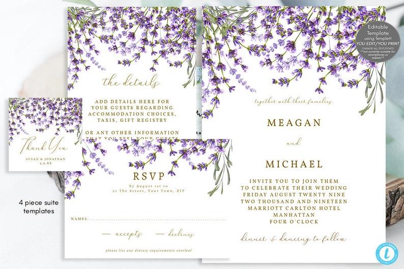 templett editable wedding invitation suite printable wedding invitation set lavender wedding invitation set lavender floral invitation