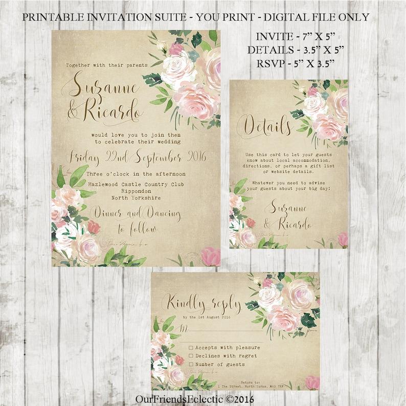 vintage wedding invitation printable wedding invitation