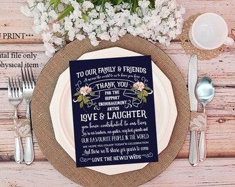 "navy wedding thank you, printable thank you cards navy, wedding thank you, digital wedding card, printable thank you cards,  4"" x 5"""