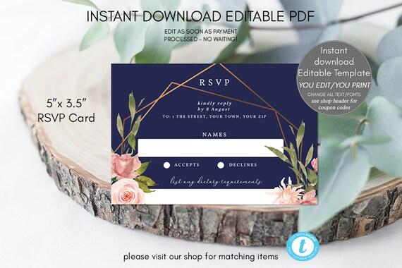 geometric wedding rsvp, wedding rsvp card editable, wedding rsvp pink printable, wedding rsvp editable template, templett rsvp, navy floral