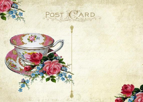 Digital Tea Party Invitation Postcard Printable