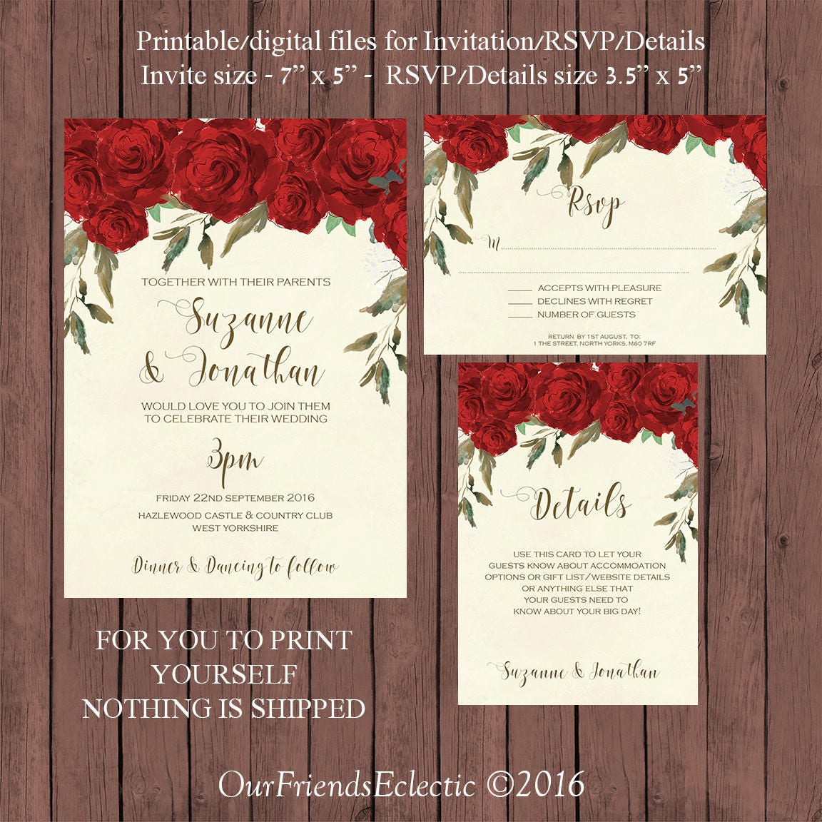red roses wedding invitation suite watercolour wedding | Etsy