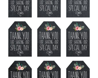 printable wedding favor tags, thank you printable tags, digital thank you tags, rustic thank you tags, rustic wedding tags, chalkboard tags