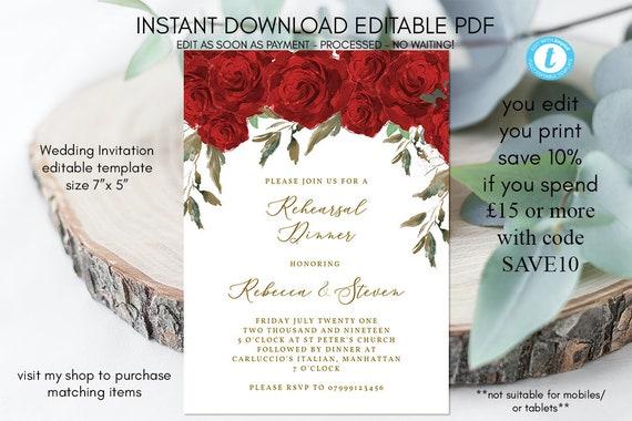 Zaproszenie Na ślub Prób Kolacje Czerwone Róże Próbny Obiad Etsy
