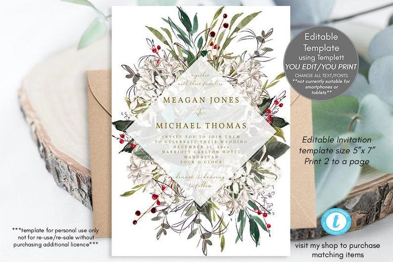 Winter Wedding Invitations Template Christmas Invitation Printable Berries Templett Wedding5x7