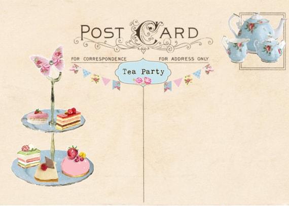 Vintage Tea Party Invitation Postcard Printable