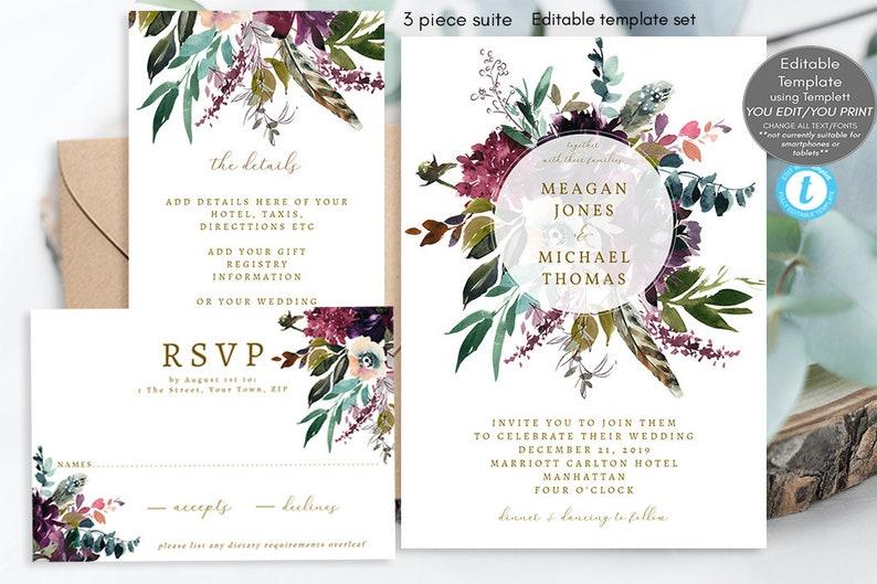 Boho Wedding Invitation Set Editable Template Floral Suite Printable Templett Feathers Purple