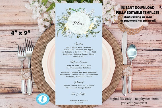 "printable menu, editable menu template, wedding menu card, instant download, digital menu template, meadow flowers, 4""x9"", Templett"