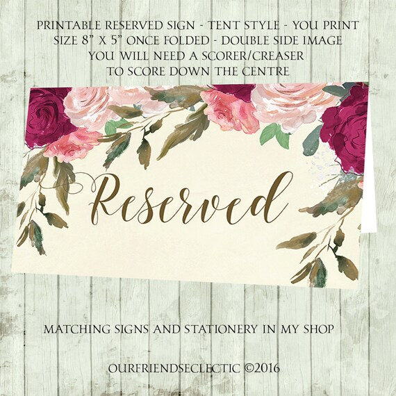 printable reserved sign wedding reserved sign ivory reserved etsy