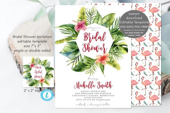 Tropical bridal shower invitation, flamingo bridal shower, printable bridal shower invitation, jungle bridal shower invitation, templett,tag